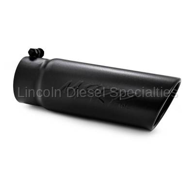 """MBRP - MBRP Universal 4"""" Angled Rolled End Exhaust Tip-Black Finish (3.5"""" Inlet,4""""Outlet)"""