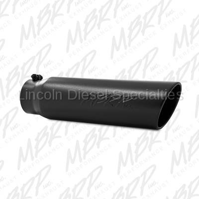 """MBRP - MBRP Universal Tip 5"""" Angled Rolled End Exhaust Tip-Black Finish (4"""" Inlet 5""""Outlet)"""