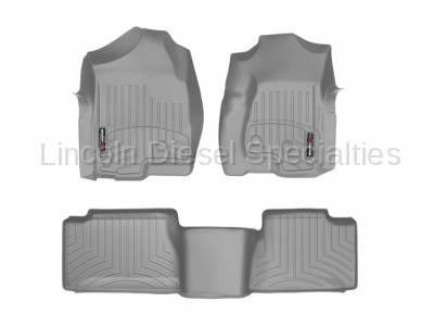 WeatherTech - WeatherTech Duramax Extended Cab Front & Rear Laser Measured Floor Liners (Grey) 2001-2007(Std.Rear Mat)