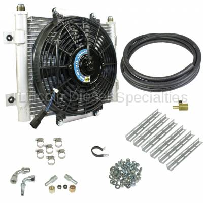 BD Diesel Performance - BD Diesel Xtrude Transmission Cooler with Fan - Complete Kit 1/2in Lines
