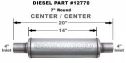 "Magnaflow - Magnaflow Universal 14"" Stainless Steel Muffler 4""Inlet 4""Outlet , 14"" Length, Satin Finish - Image 2"