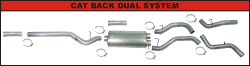 """FLo-Pro - Flo-Pro 4"""" Stainless Steel Cat Back Dual Exhaust System w/Muffler"""