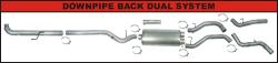 "FLo-Pro - Flo-Pro 4"" Aluminized Downpipe Back Dual Exhaust System (w/Muffler)"