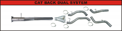 """FLo-Pro - Flo-Pro 4"""" Stainless Steel Dual Cat Back Exhaust System No/ Muffler"""