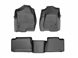 Interiors - Interiors Accessories/Necessities - WeatherTech - WeatherTech Duramax Extended Cab Front & Rear Laser Measured Floor Liners (Black) 2001-2007 (Std. Seat Rear Mat)