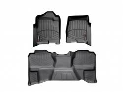 Interiors / Exteriors - Interiors Accessories/Necessities - WeatherTech - WeatherTech Duramax Extended Cab Front & Rear Laser Measured Floor Liners (Black) 2007.5-2014 (Under Seat Rear Mat)