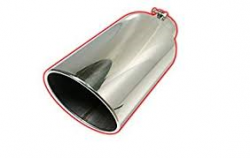 "Exhaust  - Exhaust Tips - FLo-Pro - Flo~Pro Universal Stainless Rolled Angle Exhaust Tip, 4"" Inlet, 5"" Outlet, 15"" Length"