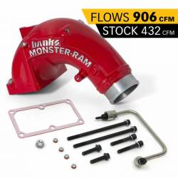 2007.5-2009 6.7L 24V Cummins - Air Intakes - Banks - Banks Dodge/Cummins 6.7L, Monster-Ram Intake System w/ Fuel Line (RED) (2007.5-2018)