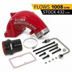 2007.5-2009 6.7L 24V Cummins - Air Intakes - Banks - Banks Dodge/Cummins 6.7L, Monster-Ram Intake System w/ Fuel Line & Hump Hose (RED)(2007.5-2018)