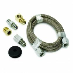 "Gauges & Pods - Hardware and Accessories - Auto Meter - Auto Meter Braided Stainless Steel Line, #4 DIA., 3FT.Lgnth, -4AN AND 1/8"" NPTF Fittings (Universal)"