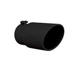 "Exhaust  - Exhaust Tips - MBRP - MBRP Universal 6"" Angled Rolled Exhaust Tip , 5"" Inlet, 6"" Outlet (Black Coated)"