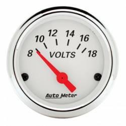 "Gauges & Pods - Gauges  - Auto Meter - Auto Meter Artic White, 2-1/16"" Voltmeter, 8-18V (Universal)"