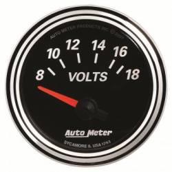 Gauges & Pods - Gauges  - Auto Meter - Auto Meter Designer Black Series VOLTMETER 2-1/16, 8-18V (Universal)