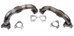 "Wehrli Custom Fabrication - Wehrli Custom Fab 2001-2016 Duramax 2"" Stainless Twin Turbo Up Pipe Kit for OEM Manifolds w/ Gaskets"